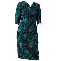 50s Green Wool Brocade Dress