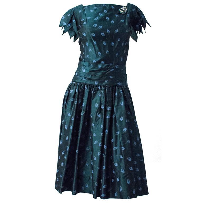50s I Magnin Drop Waist Silk Taffeta Petal Sleeve Dress with Brooch