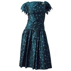 50s I Magnin Drop Waist Silk Taffeta Petal Sleeve Dress with Brooch