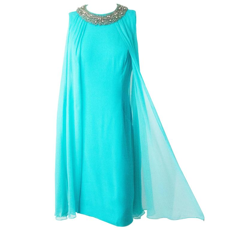 60s Silk Chiffon Tent Dress with Crystal and Pearl Beaded Collar 1