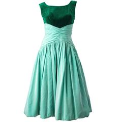 50s Green Velvet Taffeta Dress with Bubble Hem