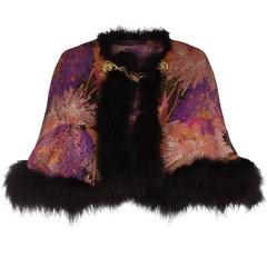 1920s Lame and Feather Cape