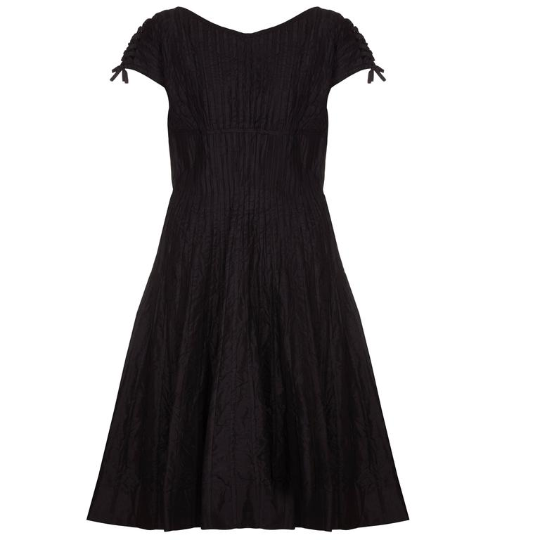 1950s Ben Reig Black Silk Ribbon Dress  1