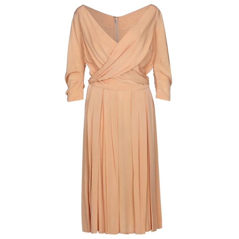 1950s Christian Dior Peach Silk Dress