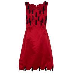 1970 Jo Copeland for Lisa Meril Red Silk Tassel Dress