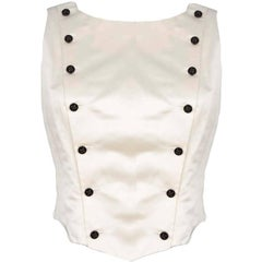CHANEL Ivory Satin Double Breasted Vest sz FR42