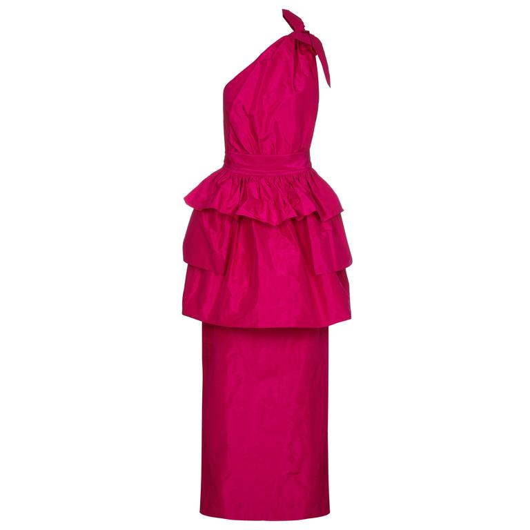 1980s Hot Pink Lanvin One Shoulder Dress With Peplum