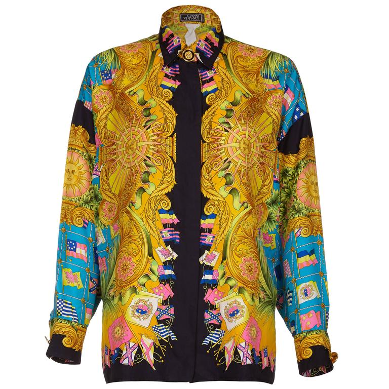 58861c67 1990s Gianni Versace Couture Silk Baroque Shirt With Flag Print For Sale