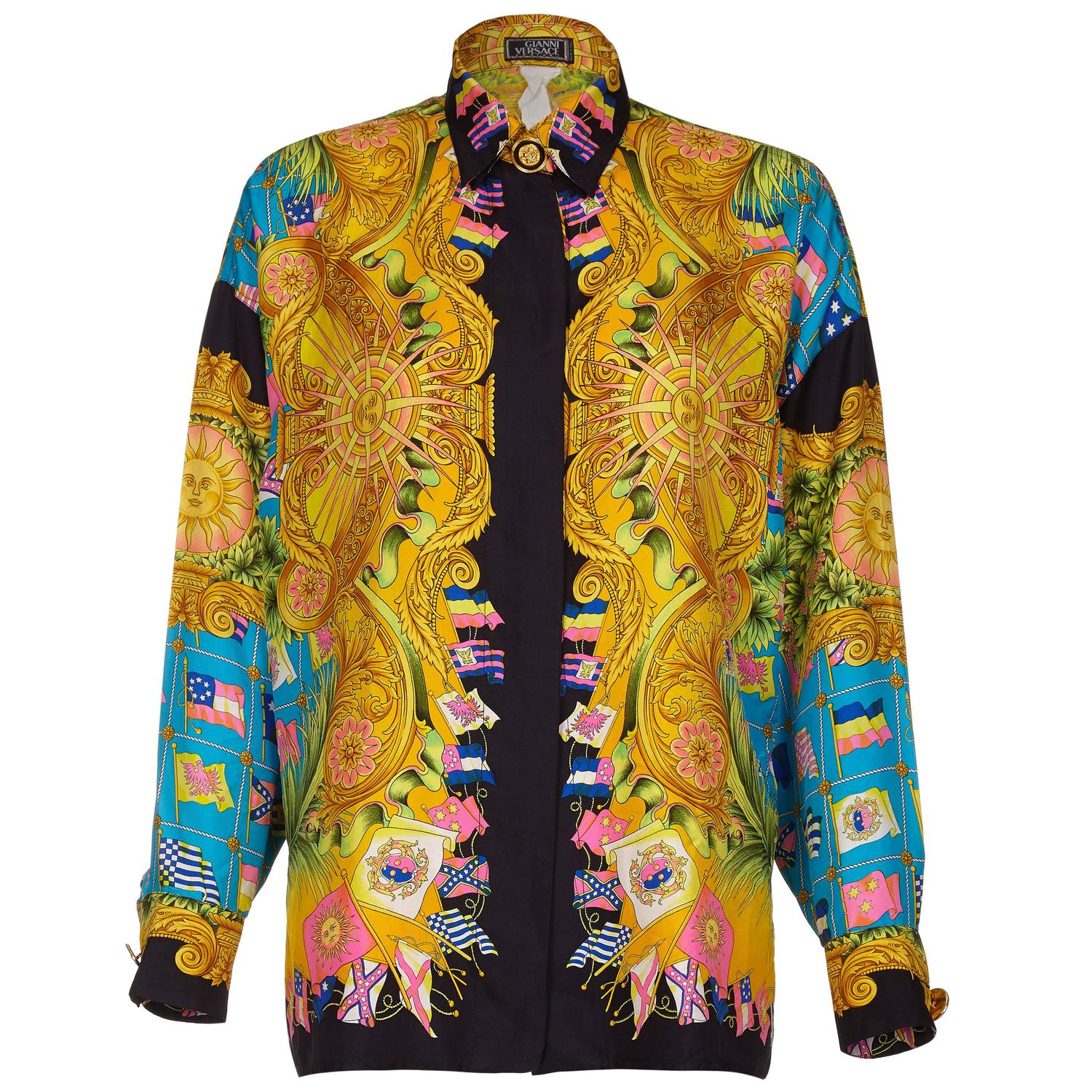 1990s gianni versace couture silk baroque shirt with flag print for sale at 1stdibs. Black Bedroom Furniture Sets. Home Design Ideas