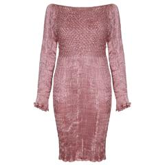 1980s Patricia Lester Couture Silk Fortuny Dress