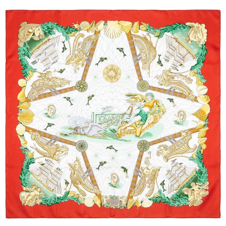 1990s 'Balade Oceane' Hermes Silk Scarf 1