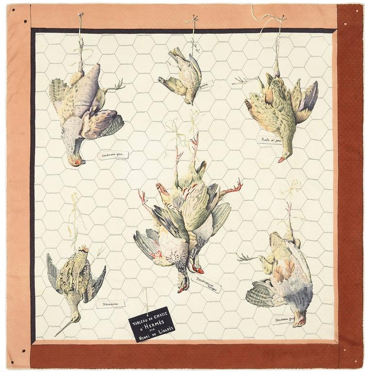 Original Issue 1950 'Tableau de Chasse' Hermes Silk Scarf For Sale