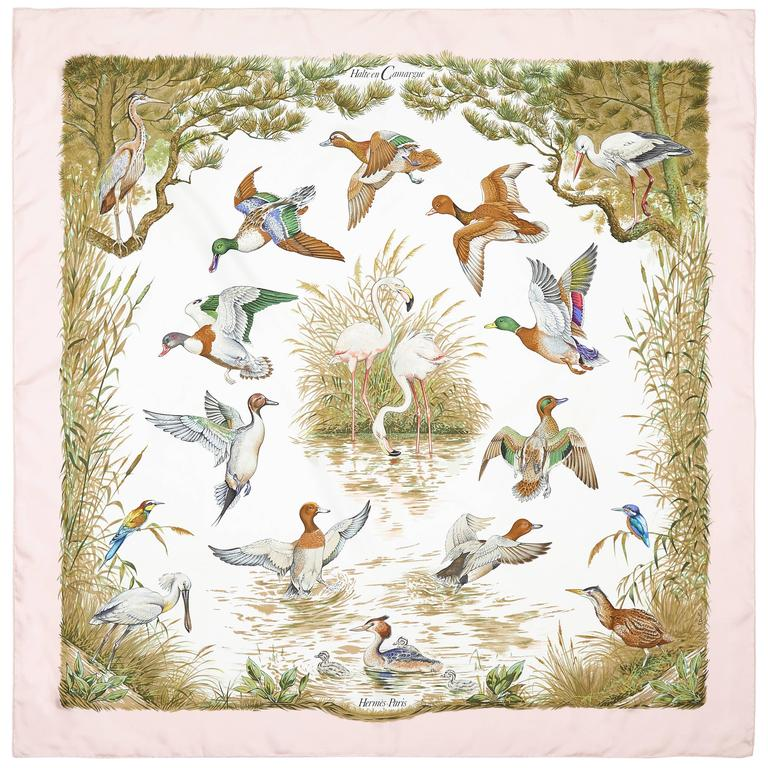 1990s 'Halte en Camargue' Hermes Silk Scarf For Sale