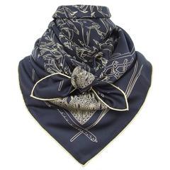 Hermes Silk Scarf Libres Comme L Air Birds Faivre Black Gold 90 cm