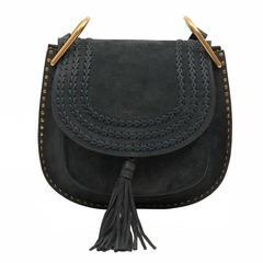 Chloe Suede Bag Hudson Medium Blue Silver 3S1218-H67