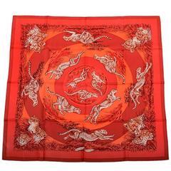 "Hermes ""Guepards"" Silk Twill Scarf 90cm"
