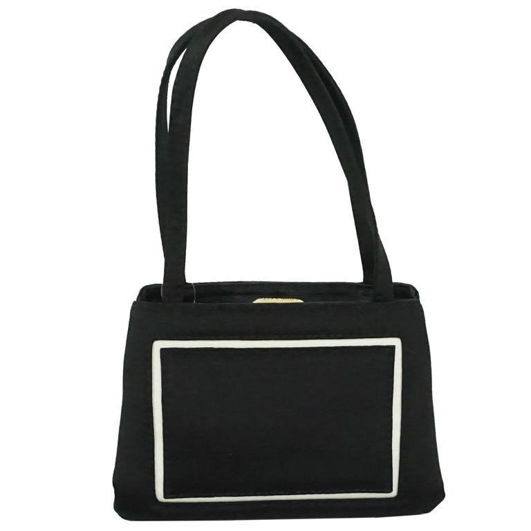 Moschino Black Bag with White Trim and Grosgrain Handle