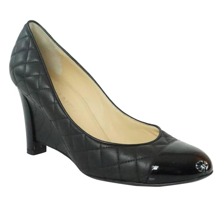 Chanel Black Quilted Leather And Patent Wedges 38 At 1stdibs