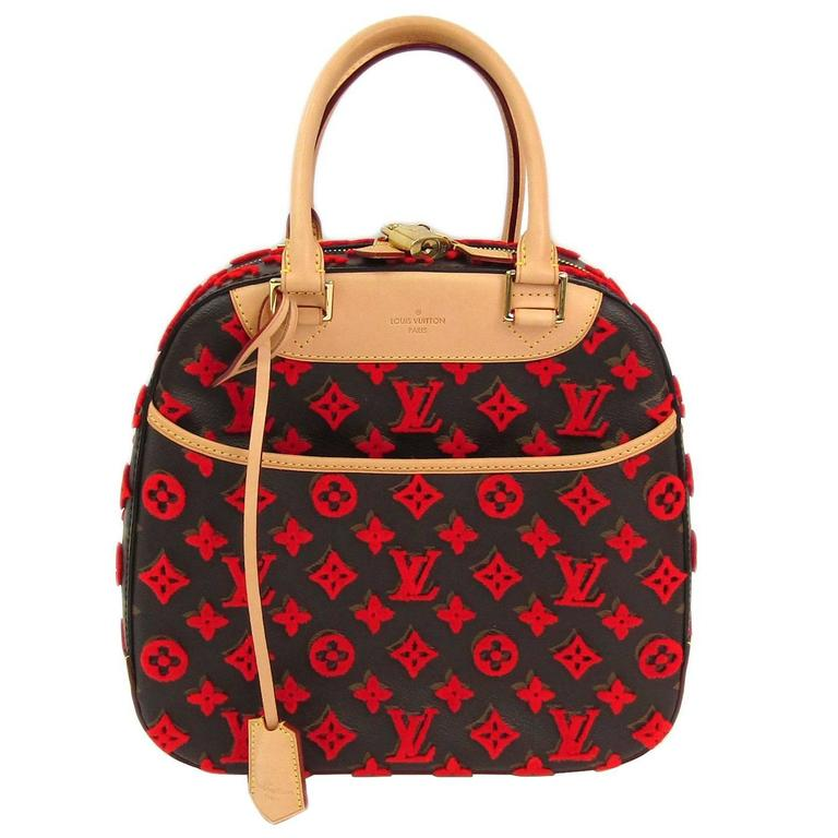 Louis Vuitton Rare Limited Edition Monogram Brown Red Top Handle Satchel Bag 1