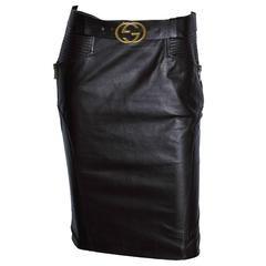 Free Shipping: Heavenly Tom Ford Gucci FW 2003 Brown Leather Skirt & Belt! IT 40