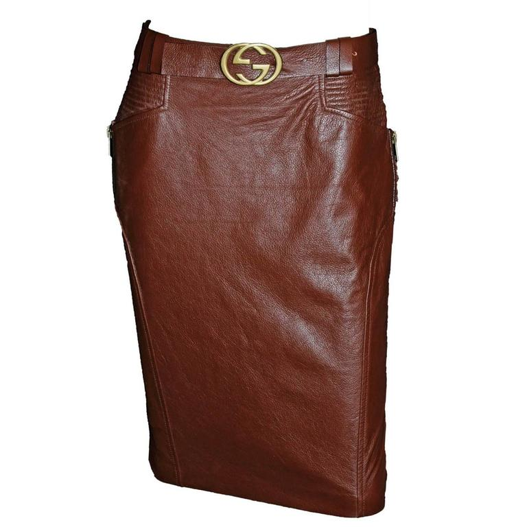 Free Shipping: Heavenly Tom Ford Gucci FW 2003 Brown Leather Skirt & Belt! IT 42 1