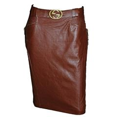 Free Shipping: Heavenly Tom Ford Gucci FW 2003 Brown Leather Skirt & Belt! IT 42