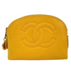 Chanel Yellow Caviar Charm Cosmetic Travel Storage Mini Pouch Bag in Box
