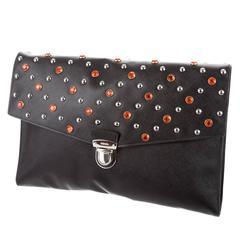 Prada Black Leather Red Crystal Silver Embellished Envelope Flap Clutch Bag