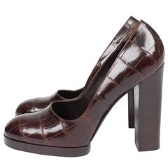 Gucci Alligator Croco Leather Pumps - brown