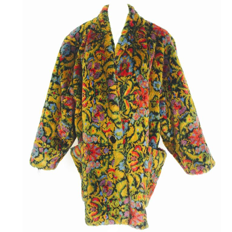 Guy Laroche 1980s Faux Fur Tapestry Design Coat 1
