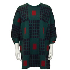 1980s Marimekko Green Knit Wool Tunic Sweater