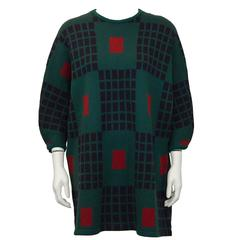 1980s Marimekko Green Knit Wool Tunic Sweater