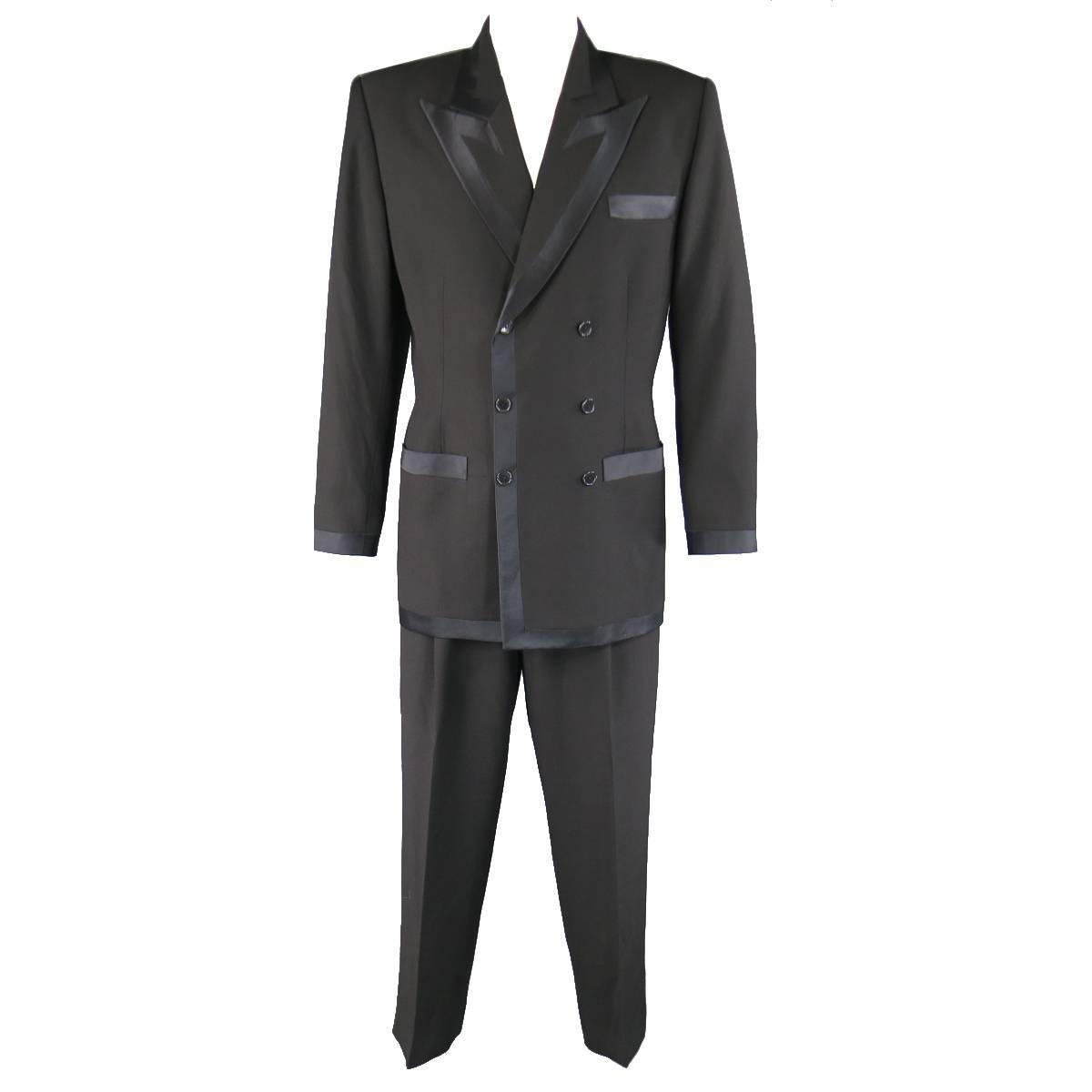RICHARD TYLER 42 Black Satin Trim Double Breasted Satin Trim Peak Lapel Tuxedo