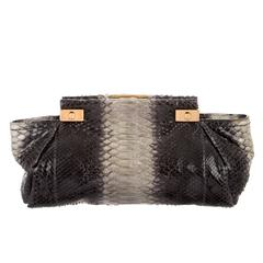 Lanvin Gray Black Snakeskin Colorblock Gold Hardware Envelope Evening Clutch Bag