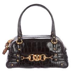 Gucci Rare Ltd Edition Black Animal Skin Gold Horsebit Top Handle Satchel Bag