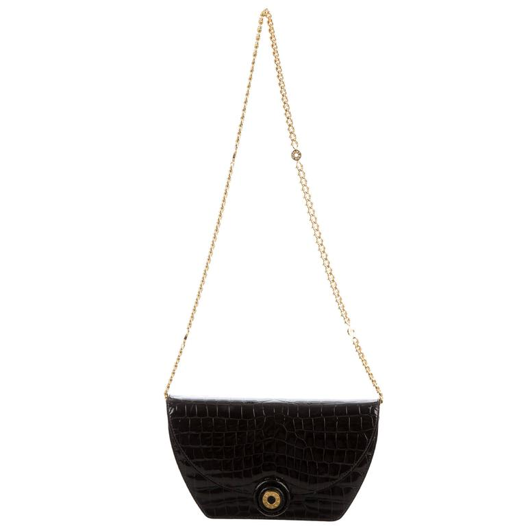 2d2b47cb00c Tiffany & Co Vintage Black Animal Skin Leather Gold Chain Evening Shoulder  Bag For Sale