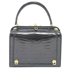 Lederer Black Croc Bag with Concealed Compartment