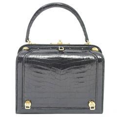 Lederer Black Croc Bag with Concealed Compartment