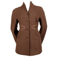 CHADO RALPH RUCCI brown wool jacket with metallic leather inserts