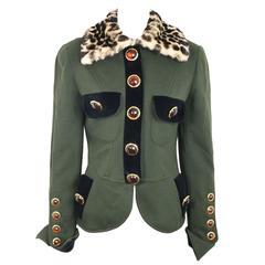 Gemma Kahng Green Wool with Detachable Leopard Fur Collar Jacket
