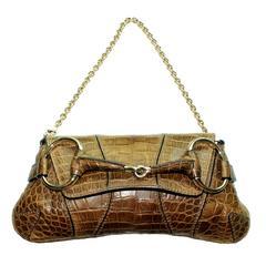 Stunning Gucci 1921 Horsebit Exotic Crocodile Sking Clutch Bag