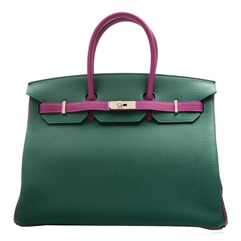 Hermès Bi-Tone Malachite Green /Anemone  Birkin 35 Handbag For Sale