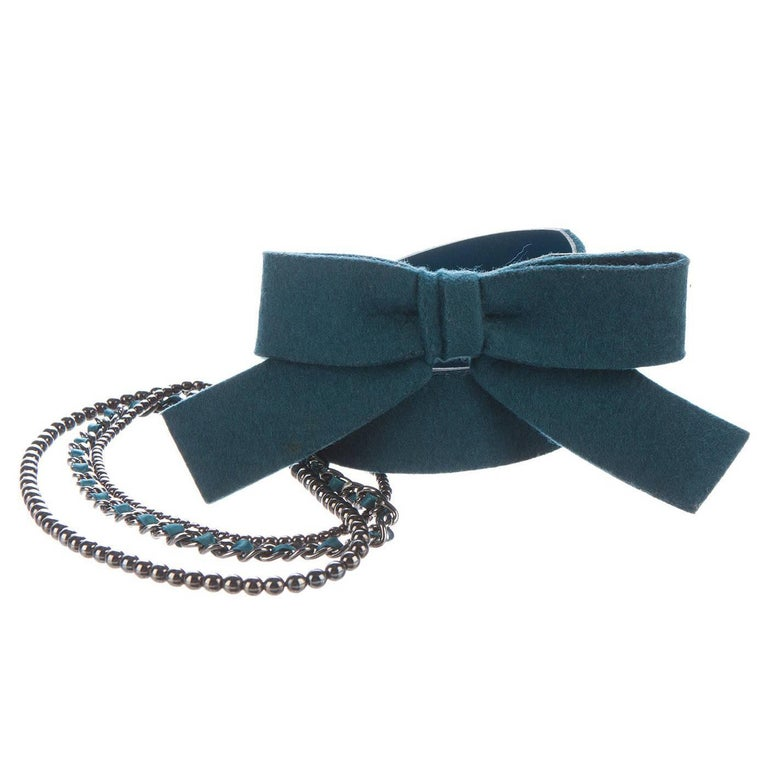Chanel Teal Wool & Chain Belt sz 95cm/ 38""