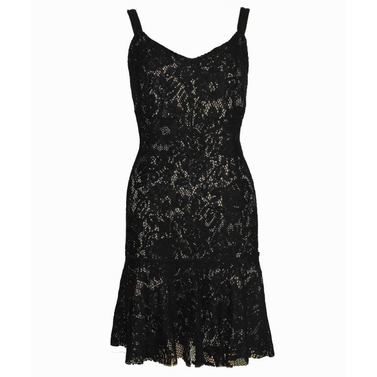 Fantastic Dolce Gabbana Crochet Knit Lace Print Silk Dress