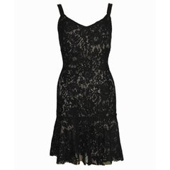 Fantastic Dolce Gabbana Crochet Knit Lace Print Silk Dress