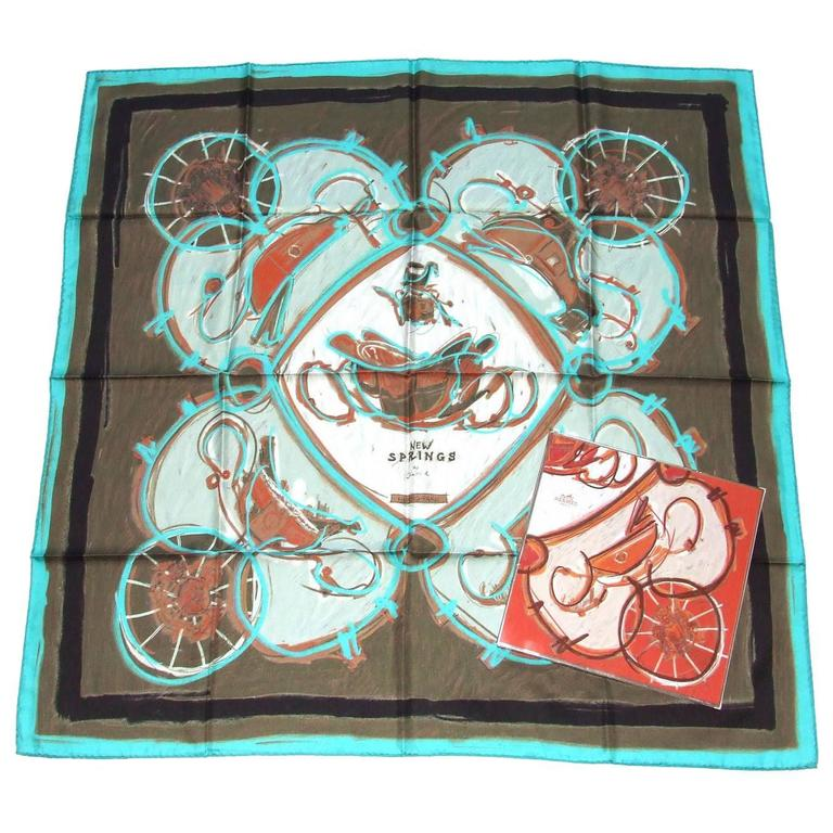 56c26b88997e2 Hermes Silk Scarf New Springs Rybaltchenko 90 cm Matching Gigt Box For Sale