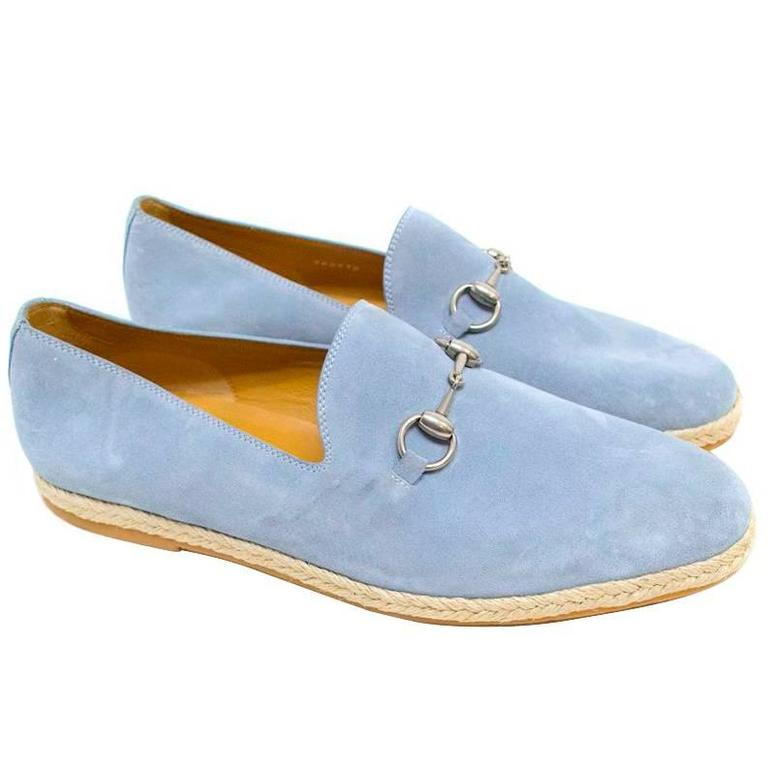 Gucci Light Blue Suede Loafers 1