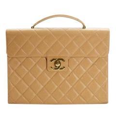 Chanel Vintage RARE Nude Tan Caviar Unisex Document Business Briefcase Flap Bag