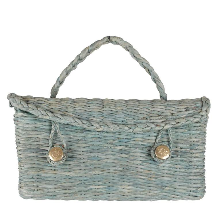 ROBERTA DI CAMERINO VINTAGE Green Woven Raffia Straw HANDBAG Satchel For Sale