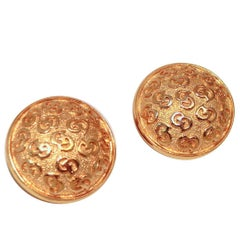 Christian Dior Vintage Signed Button Clip Earrings
